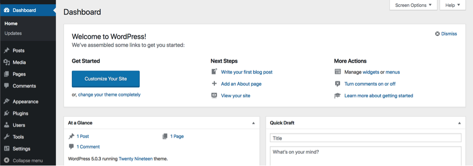 Wordpress Dashboard View