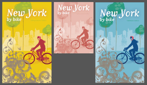 NYC colorful bike poster using Live Color