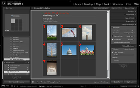 Web gallery of photos created in Lightroom