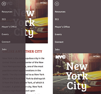 NYC website with CSS navigation menu