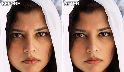 Woman's face retouched in Photoshop