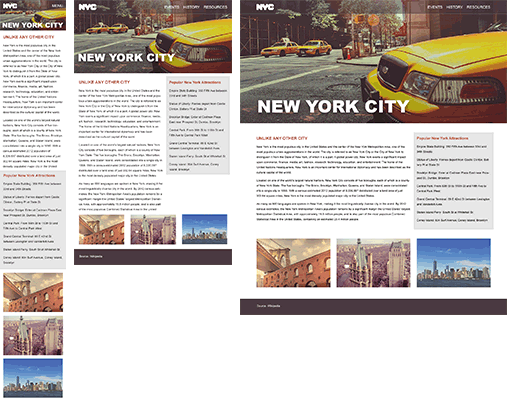 NYC website mockups created with Photoshop