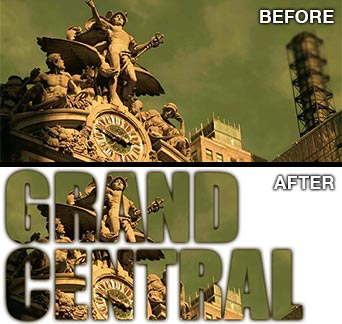 Grand Central text masked using Photoshop