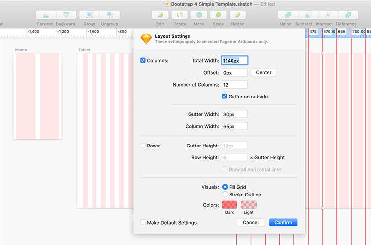 setting up a grid system in Sketch