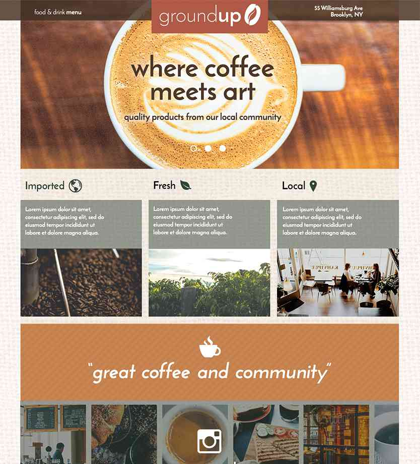 Coffee website design by visual design bootcamp student