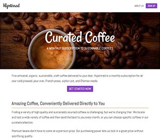 Coffee website with background hero image and social media icons