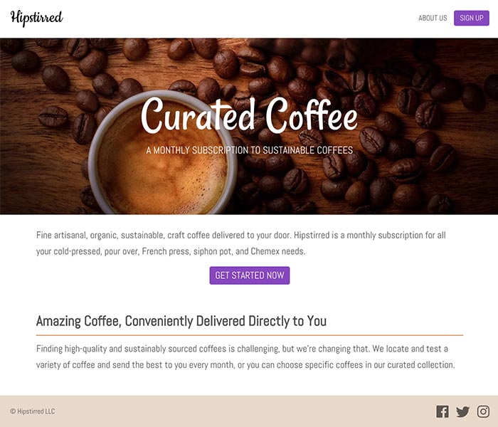 Coffee website coded with background images and icons