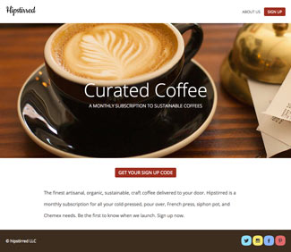 Coffee website with background image, buttons, and links