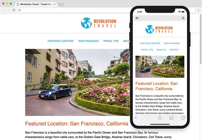 Travel website coded to be responsive on mobile