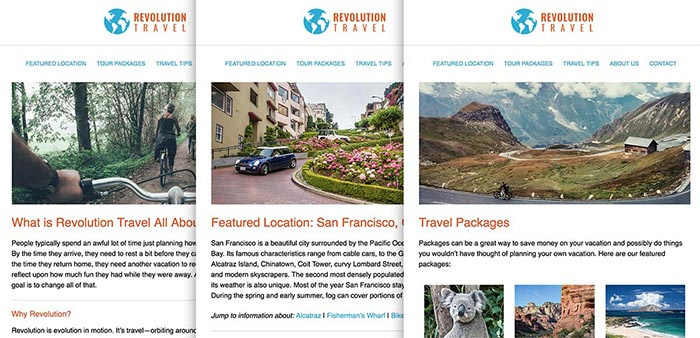 Travel website coded with HTML and CSS