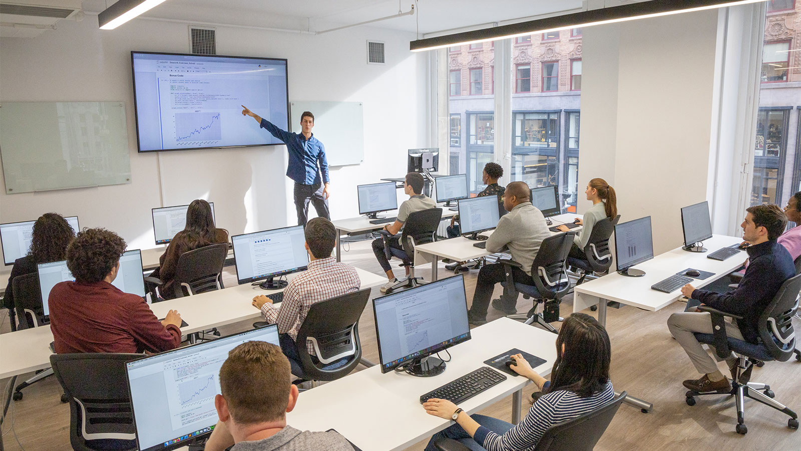 Coding bootcamp instructor leading class in NYC