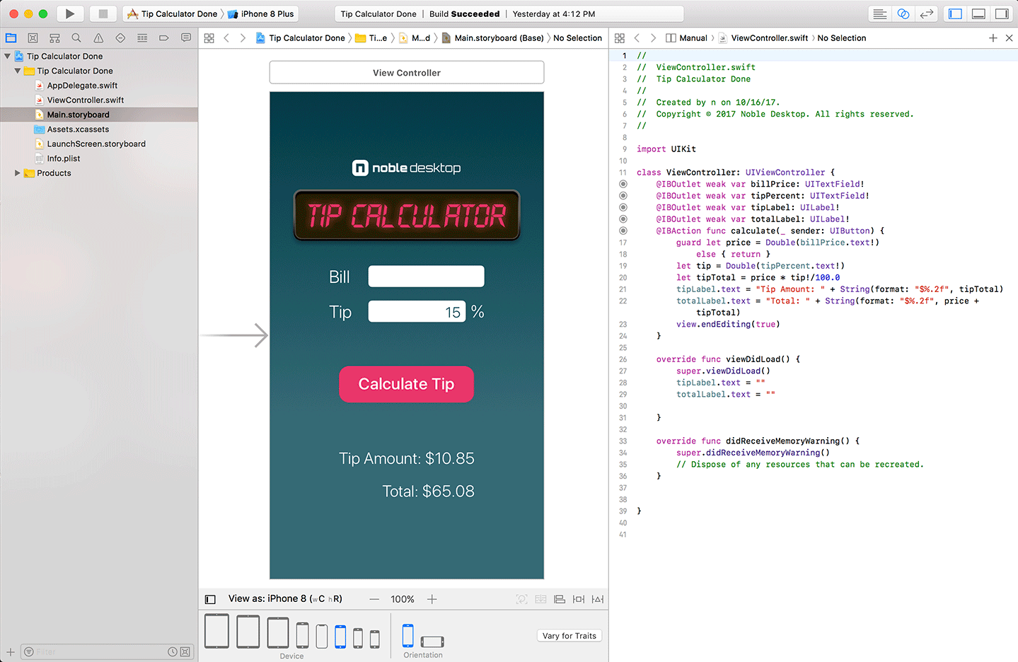 screenshot of an iOS app being coded in Apple's Xcode