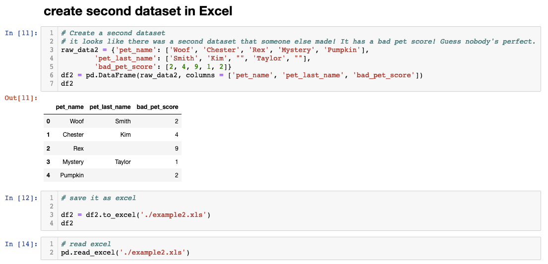 Pandas to Excel function example