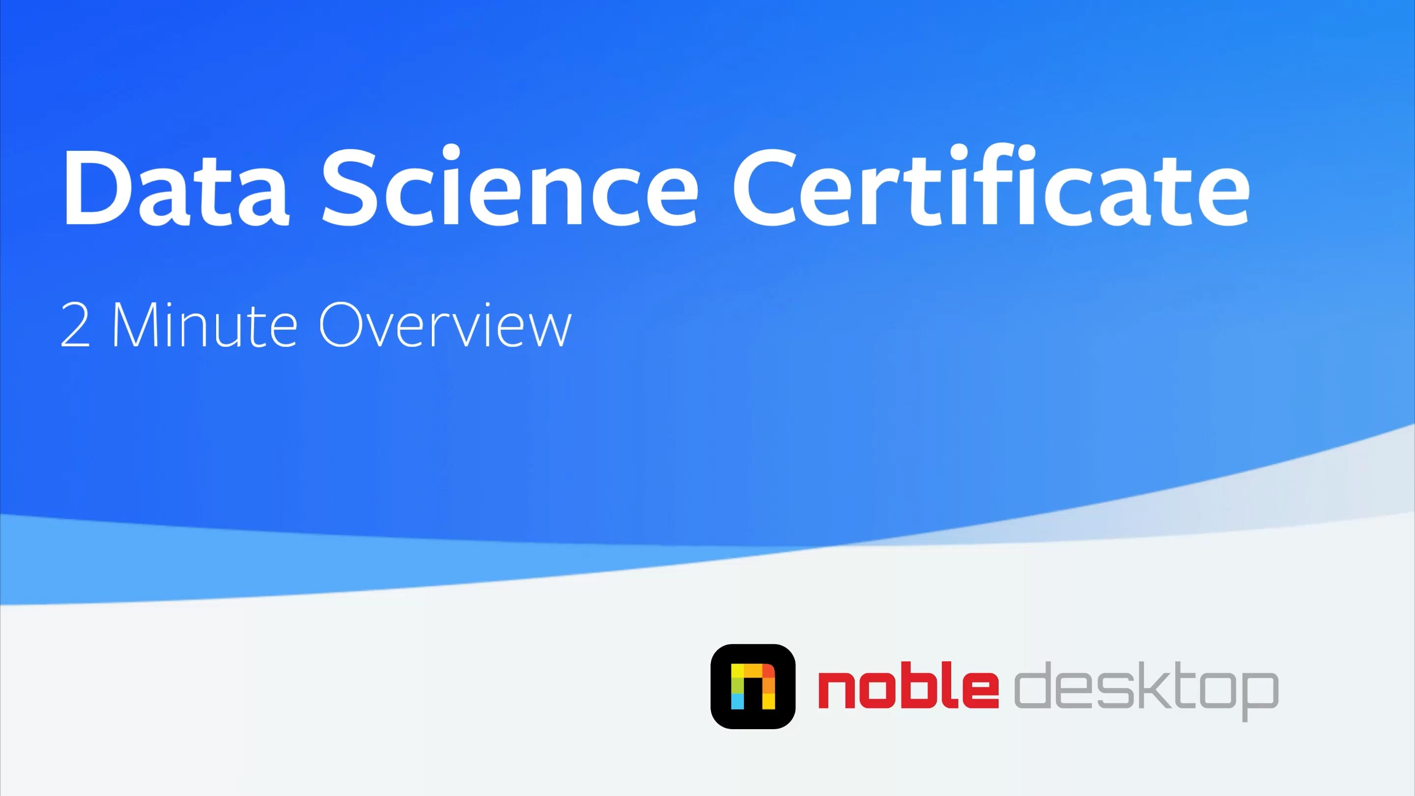 Data Science Certificate Class Overview